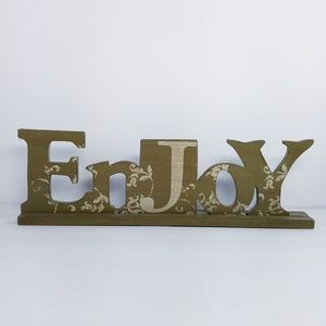 """ENJOY Sign Painted Wood Free Standing 16"""""""
